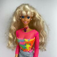 Vintage 80's Barbie Fashion Doll Blonde Krimped Hair Colorful Outfit
