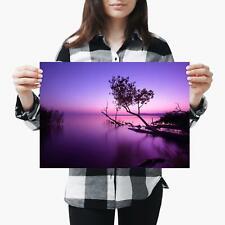 A3| Purple Landscape Sea Sunset View Size A3 Poster Print Photo Art Gift #2735-1