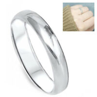 925 Sterling Silver 3mm Dome Women Plain Classic Wedding Band Bridal Accent Ring