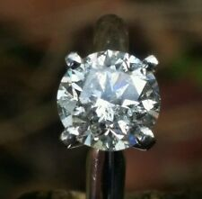 1.00 Ct. Round Brilliant Diamond Solitaire Engagement Ring 14k White Gold Size 5