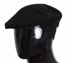 NWT $280 DOLCE & GABBANA Hat Cap Newsboy Black Cotton Cabbie Mens s. 60 / XL