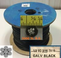 "Vinyl Coated Steel Aircraft Cable Wire Rope 50' 1/8"" VC 3/16"" 7x19 Black"