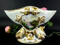Old Paris Porcelain Antique French Centerpiece Vase Gilt Hand Painted Fan Vase