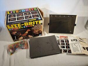 Vtg 1978 Hasbro Lite Brite Toy Light Bright White Plastic MPN 4780 & Sheets