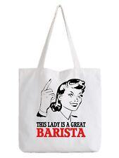 Barista Ladies Tote Bag Shopper Best Gift Coffee Shop Cafe Brewer Beans Job Work