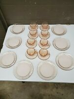 "24pc Arcoroc Rosaline Pink Swirl 8 each Saucers Cups 7.5"" Salad Plates (a329)"