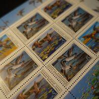 URSS RUSSIE RUSSIA FEUILLE SHEET TIMBRE N°5761/5763 x9 OISEAUX CANARDS 1990