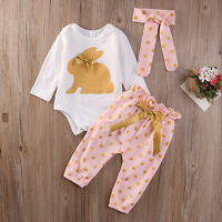 3Pcs Newborn Baby Girl Easter Bunny Clothes Romper Top Playsuit Pants Outfit Set