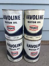 4 Lot VINTAGE 1 QUART HAVOLINE TEXACO MOTOR OIL CAN FULL METAL