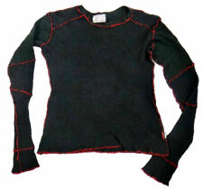 SERIOUS thin Hot topic sweater black Deconstructed PUNK gothic red patchwork mod