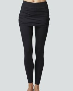 TLC SPORT Women LARGE Gathered Skirt Compression Black Sport Leggings 21310*