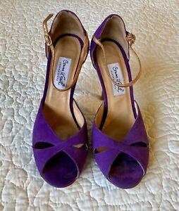 Comme il Faut Argentine Tango Dance Heels Purple with Copper Accents Size 8