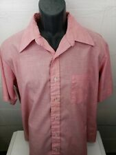 Vintage 70s KENT COLLECTION Coral Pink Dagger Collar Shirt Size Mens XL 17