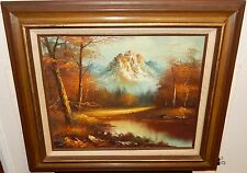 G.WHITMAN SNOW MOUNTAIN RIVER TREE LANDSCAPE ORIGINAL OIL ON CANVAS PAINTING