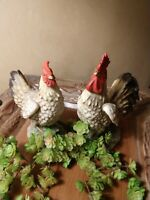 Vintage CHICKEN & ROOSTER Figurines By HOMCO 1446, Porcelain, Excellent