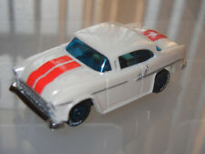 TJET DASH PEARL WHITE/RED STRIPE/GLASS 55 CHEVY SLOT CAR with AW ULTRA G CHASSIS