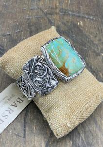 Barse Jacquard Cuff Bracelet- Turquoise- Silver Overlay- NWT