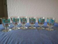 Vintage Libbys 50s Barware 6 Glasses Blue Gold Steamboat Southern Comfort