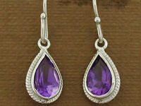 E089 Genuine 9ct Solid White Gold NATURAL Amethyst Drop Earrings Classic Dangle
