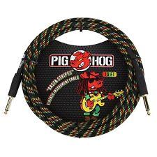 "Pig Hog Vintage Series Instrument Guitar Bass Cable 1/4"" TS Rasta Stripes 10 ft"
