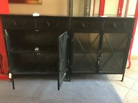 METAL CABINETS x 2 / EACH CABINET 820w x 920h x 38d   / BLACK INDUSTRIAL