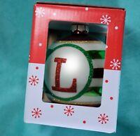 """Initial """"L"""" Glass 4"""" Christmas Ornament NIB"""