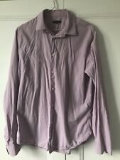 MENS GAP PURPLE WHITE STRIPE SHIRT SIZE M SLIM FIT CASUAL WORK 100% COTTON