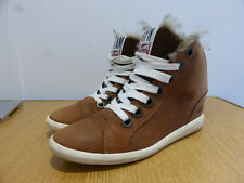 Superdry brown leather Pull Appaloosa hidden wedge trainer ankle boots UK 5 VGC
