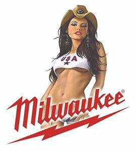 MILWAUKEE TOOLS STICKER DECAL HARD ROCK SEXY MECHANIC GLOSSY LABEL TOOL BOX USA