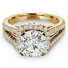 Macizo 14k Oro Amarillo 3.25ct redonda HALO Solitario Diamante Anillo De Compromiso Banda