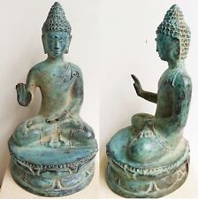 BRONZE ANTIQUED METAL BRASS BUDDHA SITTING BLESSING REASSUR ORNAMENT STATUE 12CM