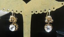 2.50ct Diamond Paste Earrings. 14k Rose Gold Antique Victorian Mine Cushion Cut