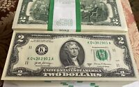10 Mint, Uncirculated Two Dollar Bill, Crisp $2 Note Consecutive Serial Number