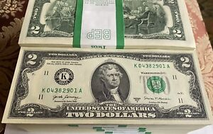 10 Mint Uncirculated TWO Dollar Bill, Crisp $2 Consecutive RARE (G) CHICAGO DIST