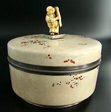 Japanese Satsuma Meiji Period Lided Box Netsuke Finial & Silver Mounts Signed