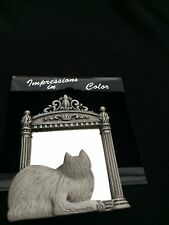 JJ Jonette Jewelry Vintage Artifacts Cat in Mirror Pewter Pin CUTE  Kitty