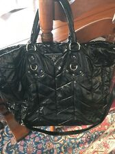 PRADA GAUFRE BLACK PATENT LEATHER  RUCHED Hobo Tote/Shoulder Bag