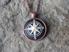 COMPASS CAMEO COPPER NECKLACE - QUALITY - ROUND - VACATION - NAUTICAL - CRUISE