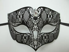 Male Diamond Crystal Black Laser Cut Masquerade Metal Filigree Mask Men