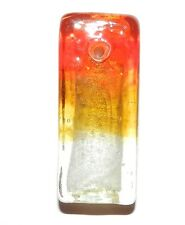 P1997w Red & Yellow Ombre' Silver Foil 48mm Rectangle Lampwork Glass Pendant