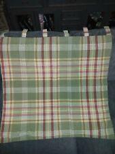 "Tab Top lined Curtain Panel sage green mustard brick red plaid 30""x32"""