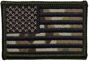 USA Flag 2x3 Military/ Patch Hook Backing Multicam/OCP Black Stitching
