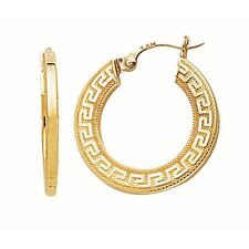 "Fashion 14k Yellow Gold ""Greek Key"" Hoop Earrings"