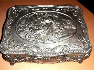 """Ornate Repousse Antique Silver Plated Trinket Box Marked """"Foreign""""    VGC"""