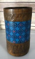 Midcentury Modern Wood Pencil Cup Boho