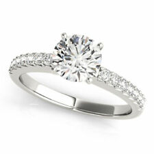1.32 Ct Round Solitaire Diamond Engagement Ring 14K Real White Gold Rings Size 6