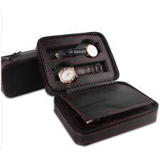 2/4/8 Slots Watch Box Travel Case Leather Storage Case Pouch Carbon Fiber Zipper