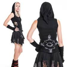 Gothic Pixie Top, Psy Trance Clothing, Pixie Hood Vest Top, Elven Haloween Top