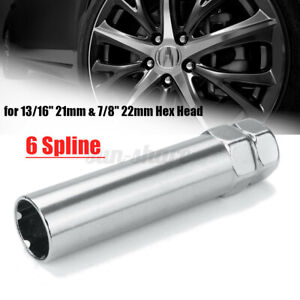 "13/16"" 21mm & 7/8"" Chrome 6 Spline Drive Tuner Wheel Lug Nut Tool Key Lock"