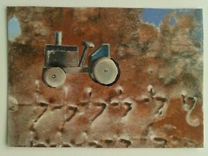 ACEO miniature collage&acrylic semi-abstract No.107 by Janet Riley signed/dated